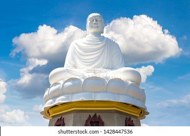 Big white Buddha in Long Son pagoda in Nha Trang, Vietnam in a summer day