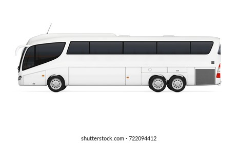 Big White Coach Tour Bus with Blank Surface for Yours Design on a white background. 3d Rendering