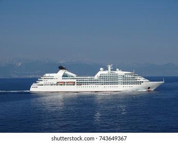 Big White Cruise Liner at Sea