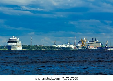 Big white cruise ship sailing to the Baltic sea at clear day