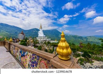 Big White Five buddha Statue in Wat Phra That Pha Son Kaew temple at Phetchabun Thailand