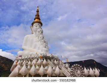 Big white five buddha statue at Pha Son Kaew temple, Petchaboon Thailand