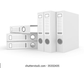 The big white folders located on a white background