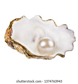 big white pearls lie in a real shell isolated on white background