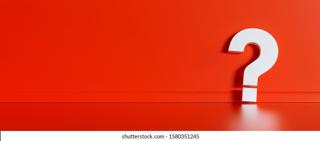 Big white question mark in front of red wall with copy space as faq concept