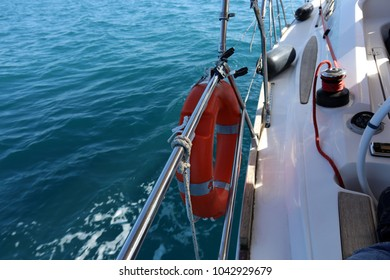 big white sail on a yacht