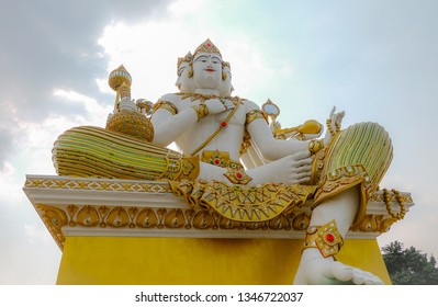 ฺBeautiful big white statue of brahma at Wat Saman Rattanaram in Chachoengsao, Thailand.