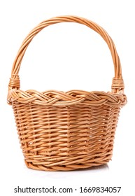 Big wicker basket on a white background. The basket is made of vines. Handmade. - Shutterstock ID 1669834057