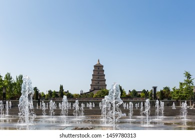 big wild goose pagoda and fountain square, xian, China