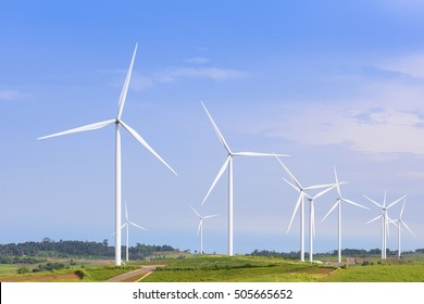 The big windmill turbine farm with the blue sky