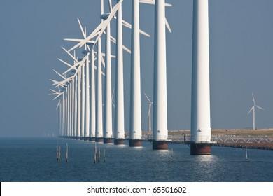 Big windturbines along the Dutch coast