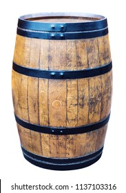 big wine oak barrel with metal frame on a white background