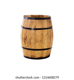big wood barrel isolated on white background