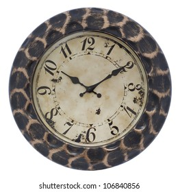 Big wood wall clock on white, isolated