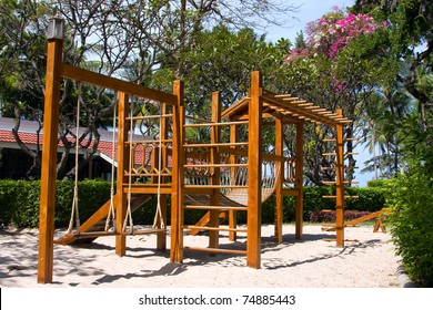 A big wooden children playground equipment .
