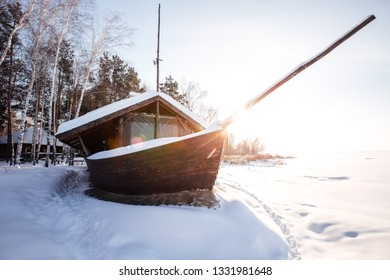big wooden ship in winter