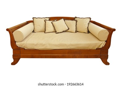 Big wooden sofa isolated included clipping path