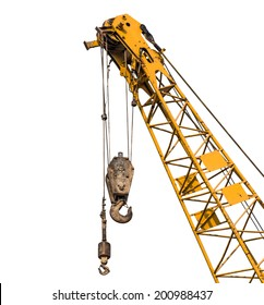 Big yellow construction crane for heavy lifting isolated cut on white background