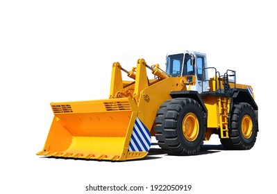 Big yellow front-end loader or all-wheel bulldozer isolated on white background. Heavy equipment machine and manufacturing equipment for open-pit mining