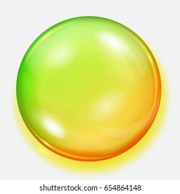 Big yellow and green sphere with shadow on white background