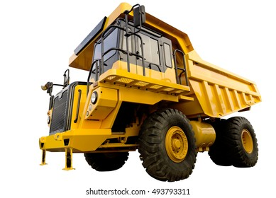 Big yellow mining truck on white background with clipping path