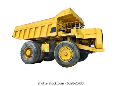 Big yellow mining truck on white background.