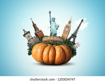 Big yellow pumpkin with sights, Halloween holiday