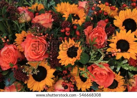 Big Yellow Sunflowers Orange Roses Floral Stock Photo Edit Now