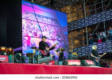 """BIG ZAVIDOVO, RUSSIA - JULY 4: Picnic group performs at rock festival """"Nashestvie"""" on July 4, 2014 in Big Zavidovo, Russia. """"Nashestvie"""" is the biggest rock festival in Russia, more 200000 visitors"""