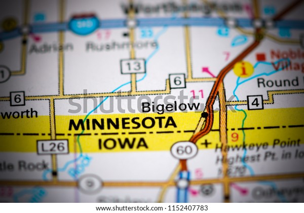 Bigelow. Minnesota. USA on a map