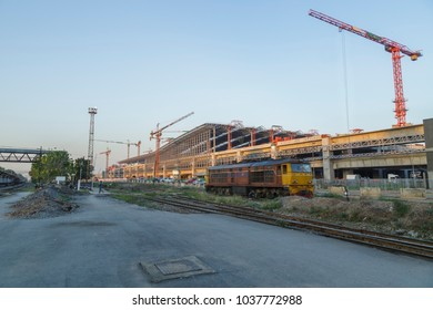 the bigest train station center  construction site, Bangsue, Bangkok, Thailand