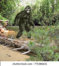 Bigfoot walking on the water.