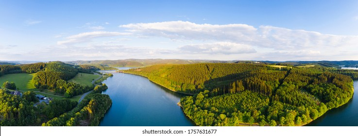 bigge lake sauerland german from above high definition panorama