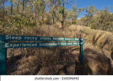 Biggenden, Queensland/Australia- August, 13, 2019. Warning sign for bush walkers on the walking track to the summit of Mount Walsh.