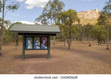 Biggenden, Queensland/Australia- August, 13, 2019. Information for tourists is displayed on a shaded information sign at the picnic area where the walking track to the summit of Mount Walsh begins.