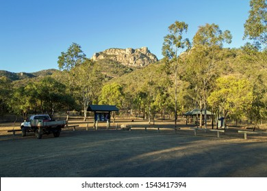 Biggenden, Queensland/Australia- August, 13, 2019. View from the car park of the summit Mount Walsh, a granite monolith popular with bush walkers and climbers.