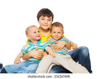 Bigger brother with younger brothers of his
