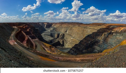 the biggest australian gold mine - super pit in Kalgoorlie, Western Australia, on a sunny summer day.