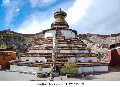 The biggest Buddhist stupa in Tibet a stupa Kumbum in the monastery Pelkhor Chode in Central Tibet. Sacred place for Buddha pupils making piligrimage in Asia. Place of prayer, calm and meditation.