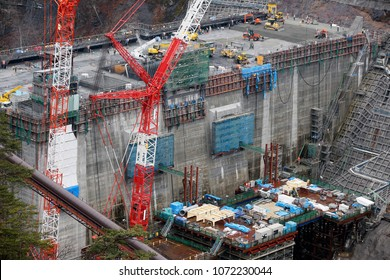 Biggest construction site, Gravity type concrete dam building in Japan, Yanba dam
