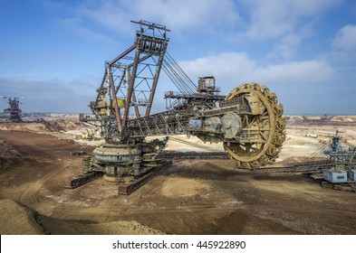 Biggest excavator in the world working, Bagger 228, Ukraine. Big mine, develop mineral resources, excavator digs, metallurgy in Ukraine