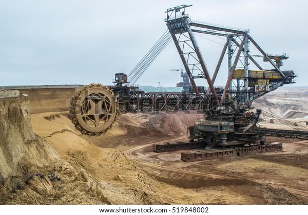 Biggest Excavator World Working Bagger 228 Technology Stock Image 519848002