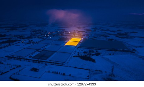 Biggest greenhouse complex in the Baltic States. Shines at night.  Light pollution. Kietaviskes. Lithuania
