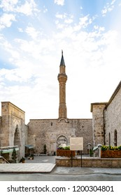 Biggest mosque in Egirdir. The arched minarets reflect the art understanding of the Anatolia Turks and are accepted to be one of the rare handiworks of Turk Islamic world. june 2018, Isparta-Turkey