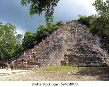 Biggest and most famous Nohoch Mul pyramid in Coba, ruins of ancient Mayan city in Yucatan, Mexico