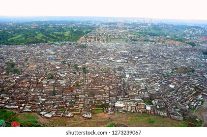 Biggest slum in Africa (Kibera-Nairobi) From the skies. Aerial Shot.