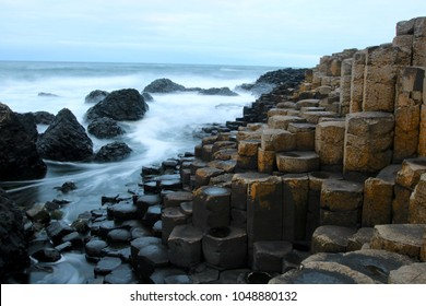 biggest tourist attraction in Northern Ireland, Giant's Causeway the big Basalt rocks in Antrim