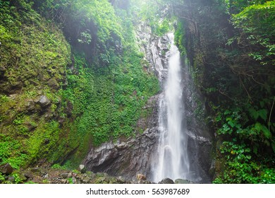 Biggest waterfall in forest on Bali. Les waterfall