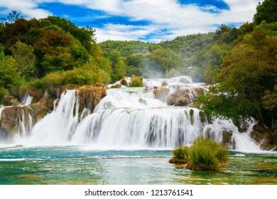 the biggest waterfall in Krka National Park - Skradinski Buk, Croatia