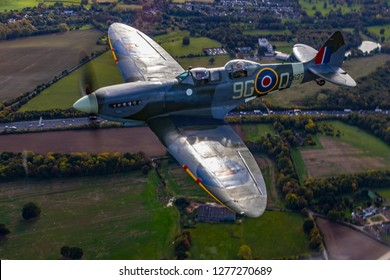BIGGIN HILL, BROMLEY, LONDON, UK – OCT 12, 2018. 2 seat Spitfire NJ627, flown from Biggin Hill. First operational Sortie Sep 25th 1944 in Belgium, converted to 2 seat trainer in July 1950